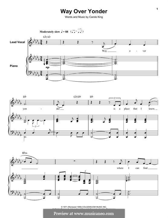 Way Over Yonder: Для голоса и фортепиано (или гитары) by Carole King
