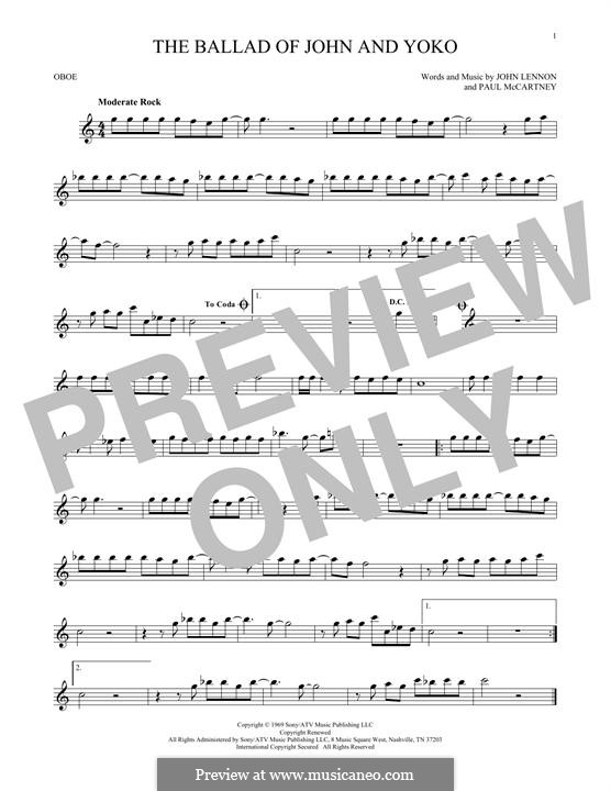 The Ballad of John and Yoko (The Beatles): For oboe by John Lennon, Paul McCartney