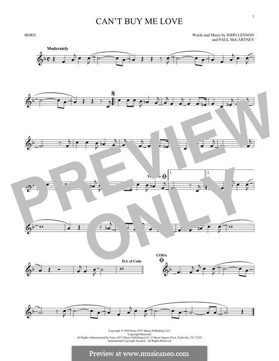 Can't Buy Me Love (The Beatles): For horn by John Lennon, Paul McCartney