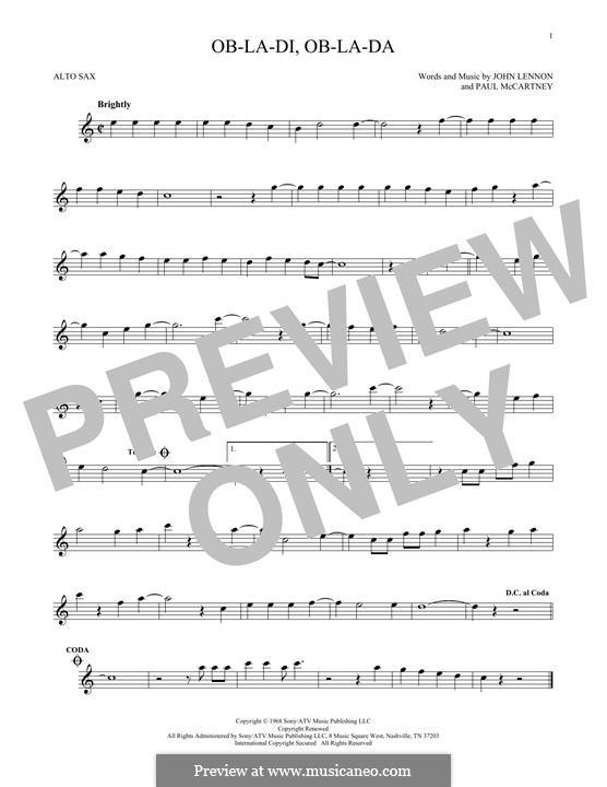 Ob-La-Di, Ob-La-Da (The Beatles): Для альтового саксофона by John Lennon, Paul McCartney
