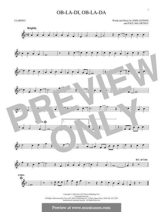 Ob-La-Di, Ob-La-Da (The Beatles): Для кларнета by John Lennon, Paul McCartney