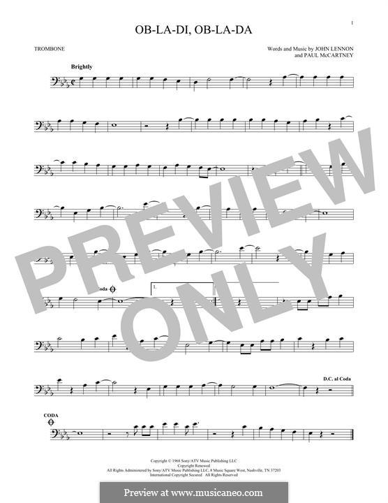 Ob-La-Di, Ob-La-Da (The Beatles): For trombone by John Lennon, Paul McCartney