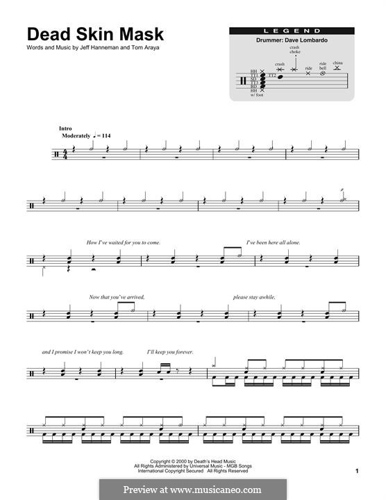 Dead Skin Mask (Slayer): Drum set by Jeffery Hanneman, Tom Araya
