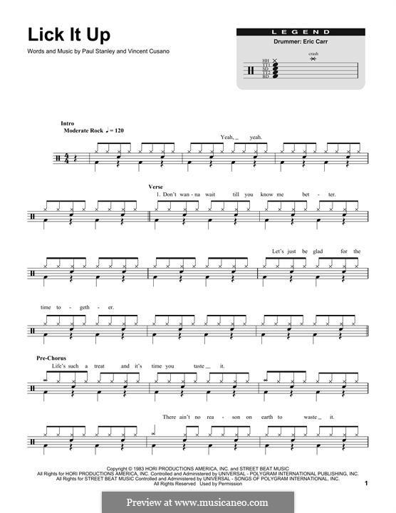 Lick It Up (Kiss): Drum set by Paul Stanley, Vinnie Vincent