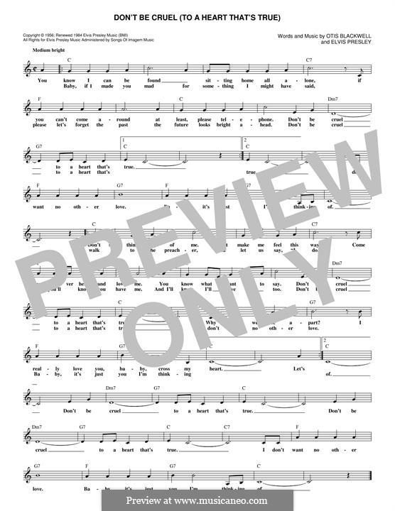 Don't Be Cruel: Мелодия by Elvis Presley, Otis Blackwell