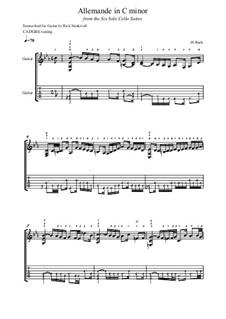 Сюита для виолончели No.5 до минор, BWV 1011: Allemande, for guitar by Иоганн Себастьян Бах
