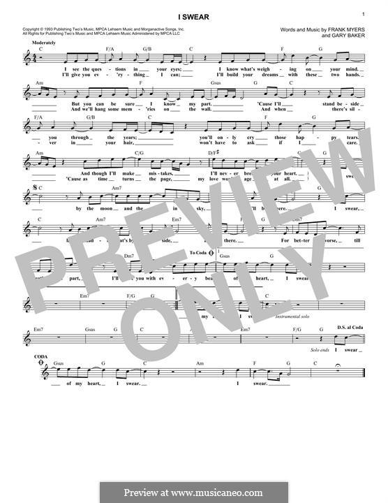 I Swear: Мелодия by Frank J. Myers, Gary Baker