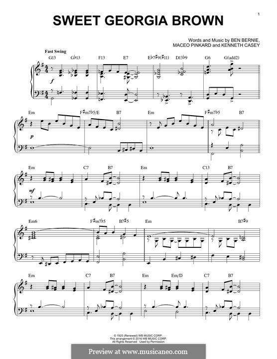 Sweet Georgia Brown: Для фортепиано by Maceo Pinkard, Kenneth Casey