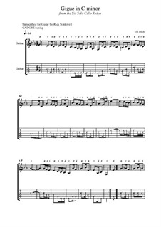 Сюита для виолончели No.5 до минор, BWV 1011: Gigue, for guitar by Иоганн Себастьян Бах