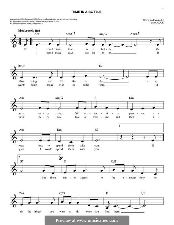 Time in a Bottle: Мелодия by Jim Croce