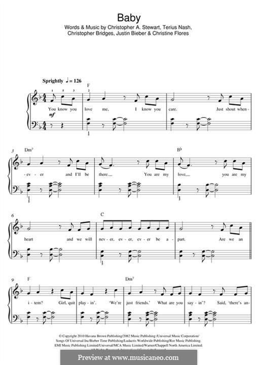 Baby (Justin Bieber featuring Ludacris): Для фортепиано by Christine Flores, Christopher Bridges, Tricky Stewart , Justin Bieber, Terius Nash