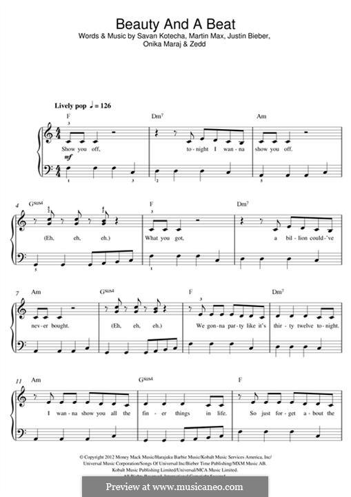 Beauty and a Beat: For piano (feat. Nicki Minaj) by Justin Bieber, Max Martin, Savan Kotecha