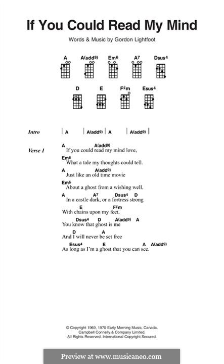 If You Could Read My Mind: Текст, аккорды by Gordon Lightfoot