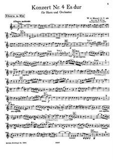 Концерт для валторны с оркестром No.4 ми-бемоль мажор, K.495: Сольная партия by Вольфганг Амадей Моцарт