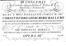 Три концерта для клавесина и струнных, Op.3: Партия клавесина by Иоганн Агрелл