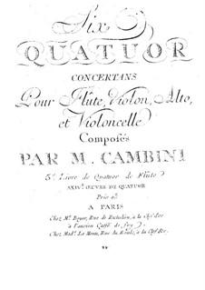 Шесть квартетов для флейты, скрипки, альта и виолончели, T. 145-150: Партия флейты by Джузеппе Мария Камбини