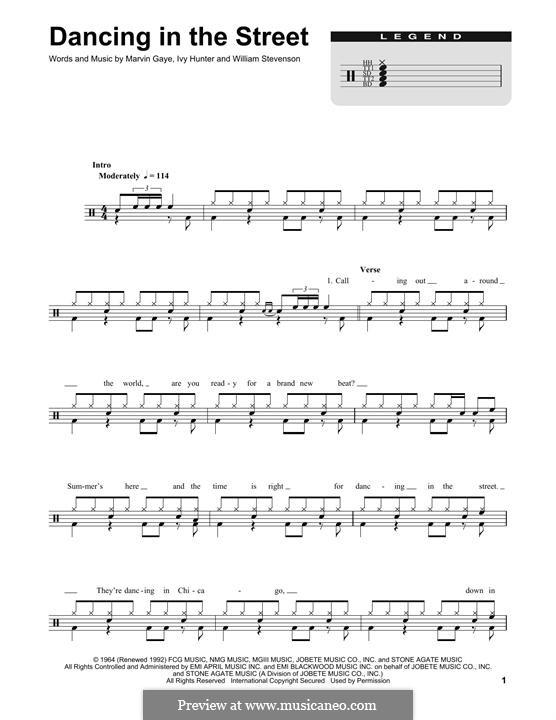 Dancing in the Street (Martha & The Vandellas): Drum set by Ivory Joe Hunter, Marvin P. Gaye, William Stevenson