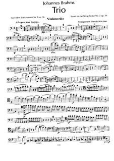 Струнный секстет No.2 соль мажор, Op.36: Версия для фортепианного трио – партия виолончели by Иоганнес Брамс