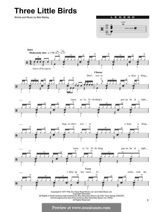 Three Little Birds: Drum set by Bob Marley