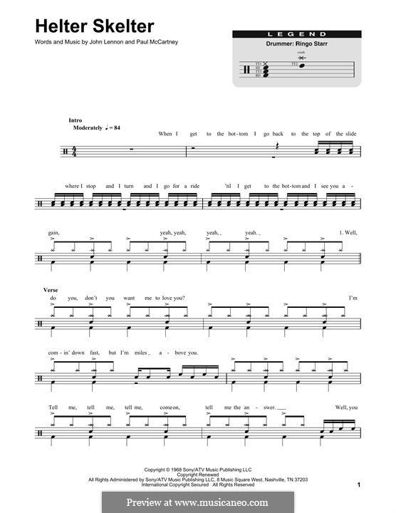 Helter Skelter (The Beatles): Drum set by John Lennon, Paul McCartney