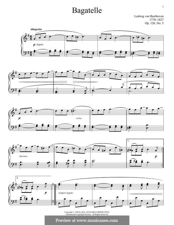 Шесть багателей для фортепиано, Op.126: Bagatelle No.5 by Людвиг ван Бетховен