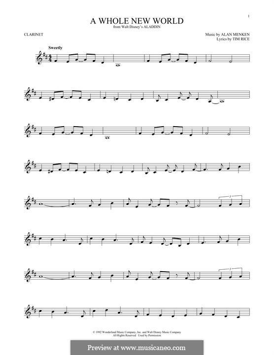 A Whole New World (from Aladdin): Для кларнета by Alan Menken