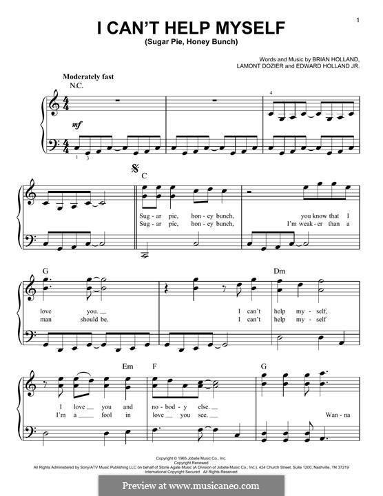 I Can't Help Myself (Sugar Pie, Honey Bunch): Для фортепиано by Brian Holland, Edward Holland Jr., Lamont Dozier