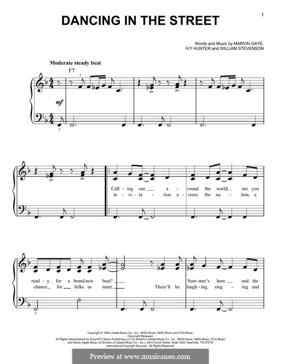 Dancing in the Street (Martha & The Vandellas): Для фортепиано by Ivory Joe Hunter, Marvin P. Gaye, William Stevenson