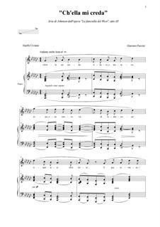 Девушка с Запада: Ch'ella mi creda, atto III by Джакомо Пуччини