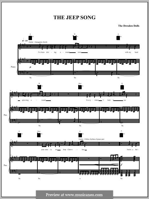 The Jeep Song (The Dresden Dolls): Для голоса и фортепиано (или гитары) by Amanda Palmer
