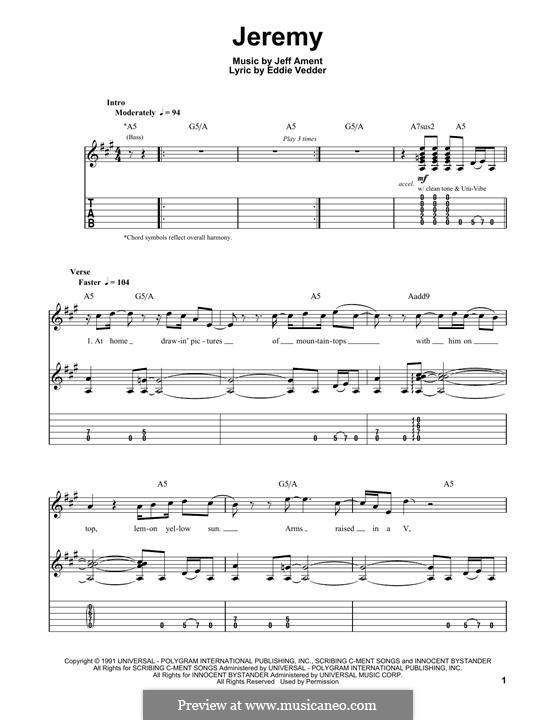 Jeremy (Pearl Jam): Гитарная табулатура by Jeff Ament
