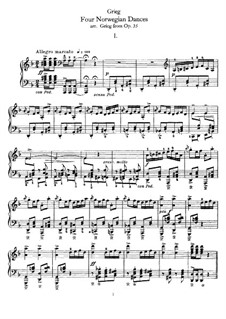Четыре норвежских танца, Op.35: Для фортепиано by Эдвард Григ