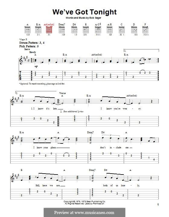 We've Got Tonight (Ronan Keating and Lulu): Гитарная табулатура by Bob Seger