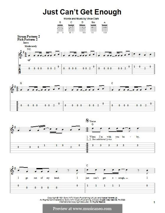 Just Can't Get Enough (Depeche Mode): Гитарная табулатура by Vince Clarke