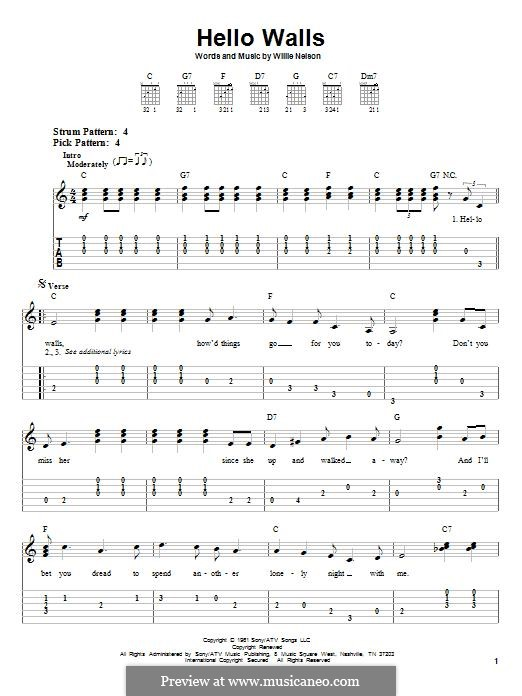 Hello Walls (Faron Young): Гитарная табулатура by Willie Nelson