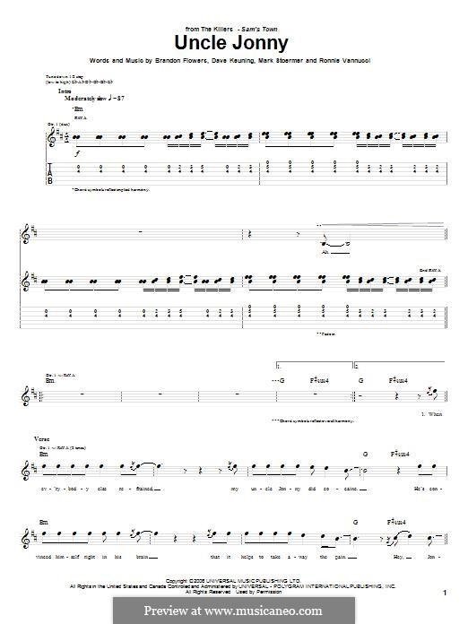 Uncle Jonny (The Killers): Гитарная табулатура by Brandon Flowers, Dave Keuning, Mark Stoermer, Ronnie Vannucci