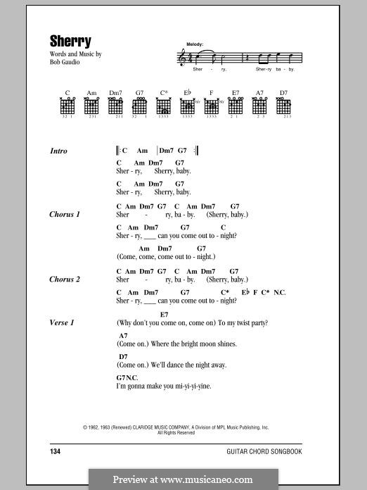 Sherry (The Four Seasons): Текст, аккорды by Bob Gaudio