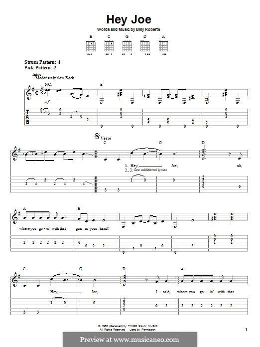 Hey Joe: Гитарная табулатура by Billy Roberts