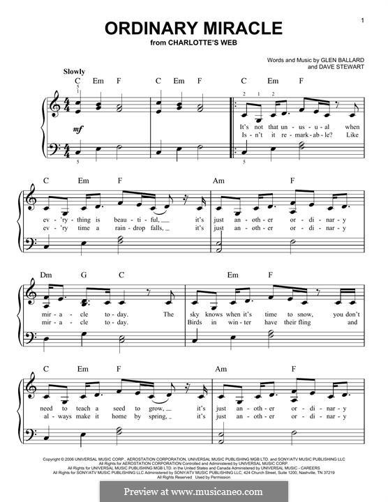 Ordinary Miracle (from Charlotte's Web): Для фортепиано (Sarah McLachlan) by David A. Stewart, Glen Ballard