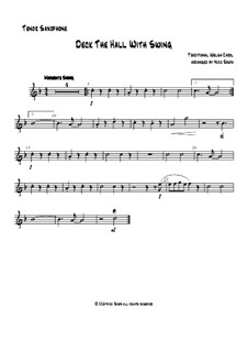 Deck the Hall with Swing: For saxophone quartet - tenor sax part by folklore