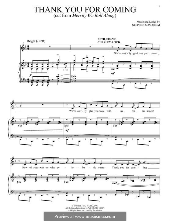 Thank You for Coming: Для голоса и фортепиано by Stephen Sondheim