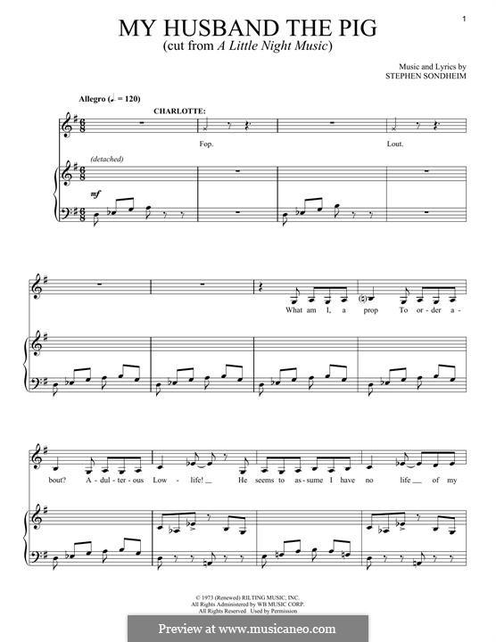 My Husband the Pig: Для голоса и фортепиано by Stephen Sondheim