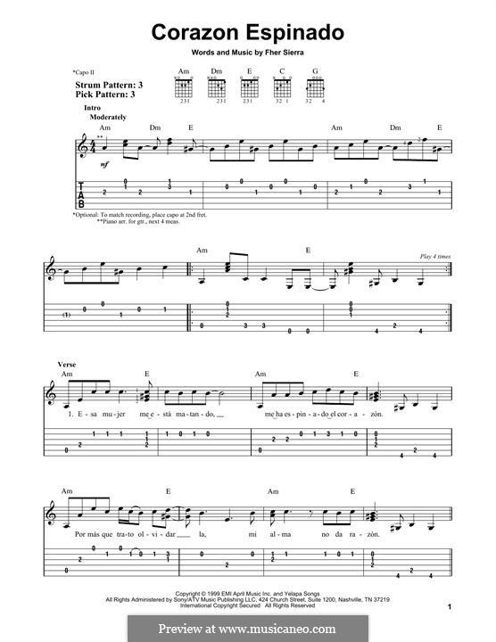 Corazon Espinado (Santana): Гитарная табулатура by Fher Sierra