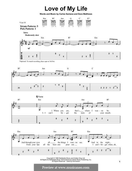 Love of My Life (Santana): Гитарная табулатура by Carlos Santana, David J. Matthews