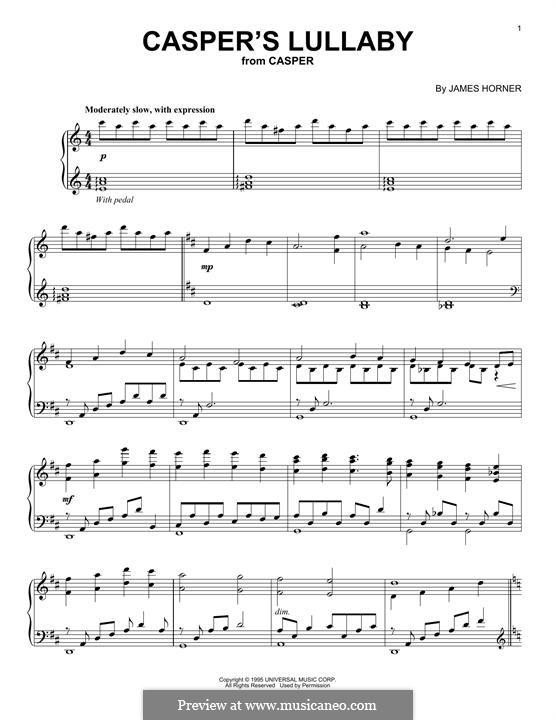 Casper's Lullaby: Для фортепиано by James Horner
