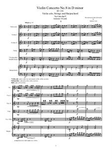 La Cetra (The Lyre). Twelve Violin Concertos, Op.9: No.8 Concerto in D Minor – score and all parts, RV 238 by Антонио Вивальди