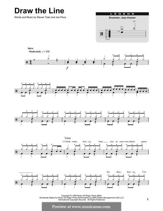 Draw the Line (Aerosmith): Drum set by Joe Perry, Steven Tyler