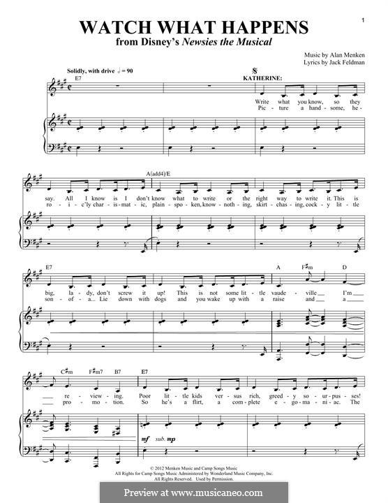 Watch What Happens: Для голоса и фортепиано by Alan Menken