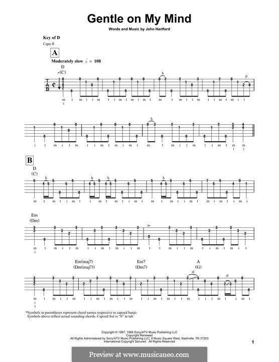 Gentle On My Mind: For banjo by John Hartford