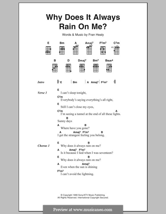 Why Does It Always Rain on Me? (Travis): Текст, аккорды by Fran Healy